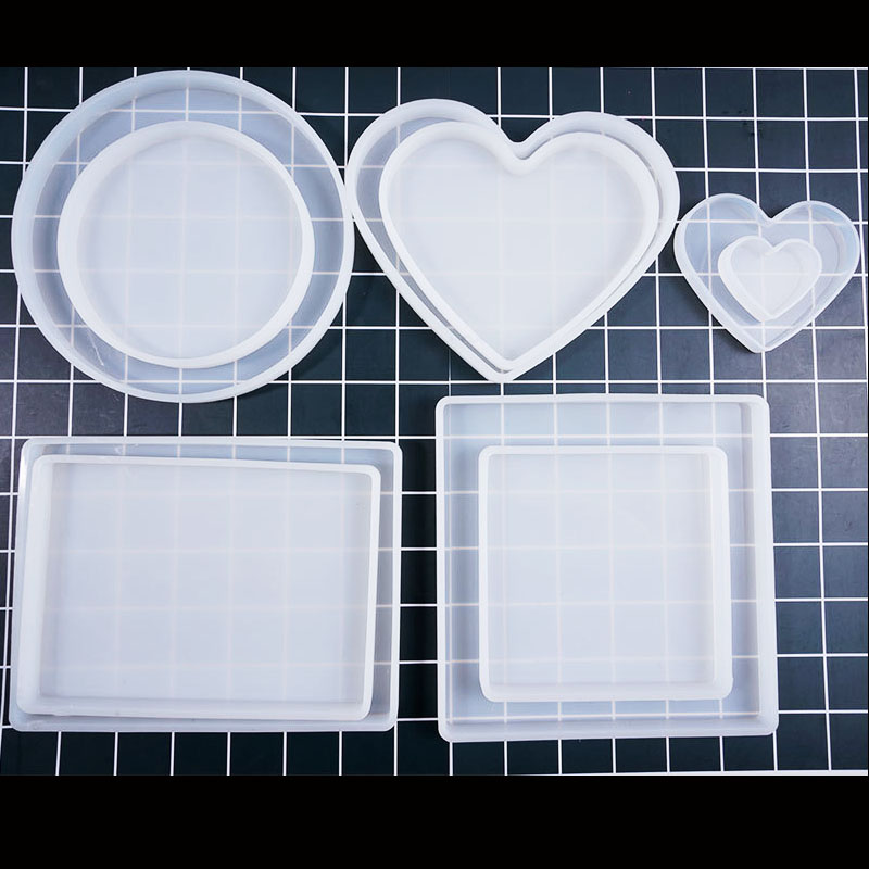 Various Size Of Love Heart Square Rectangle Base Board UV Expoxy Resin Decorative Jewelry Making Molds For Jewelry