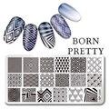 NACIDO PRETTY Rectangle 12*6 cm Nail Art Sello Placa de la Imagen Plantilla de Diseño en Forma de Triángulo de Diamantes L040
