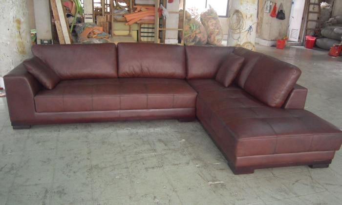 Stūra dīvāns ar ādas modernu dīvānu komplektu, 2013. gada - Mēbeles - Foto 3