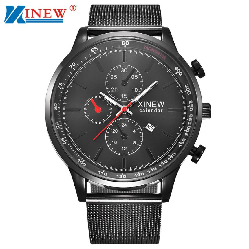 XINEW Luxury Mens Quartz Wrist Watches Date Stainless Steel Band Analog Men Sport Army Military Watch relogio masculino 2017 fashion stainless steel leather men s military sport analog quartz wrist watch men square casual watches relogio masculino