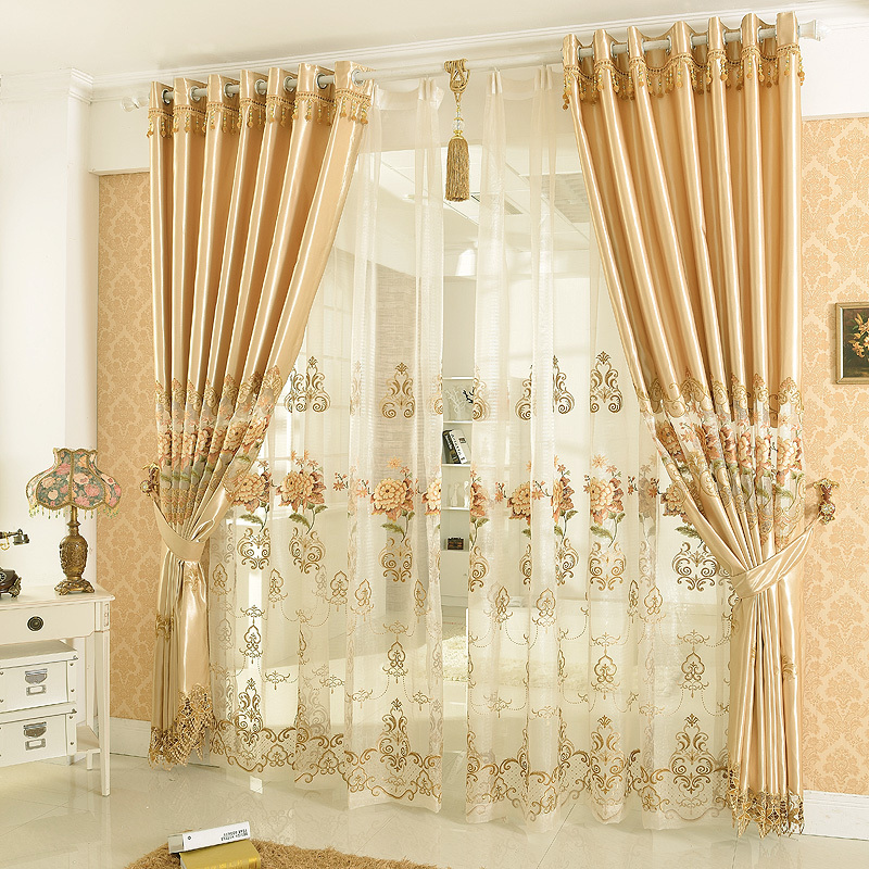 2015 New Arrival Golden Color Embroidery Fashion Blind Drapes Curtain Cortina Sheer Floral Curtains For Living