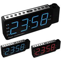 Adjustable Projection Alarm Clock 3 Alarm LED Dimmable Clock with FM Radio Snooze Mode, Battery Backup Time & Temp Projection
