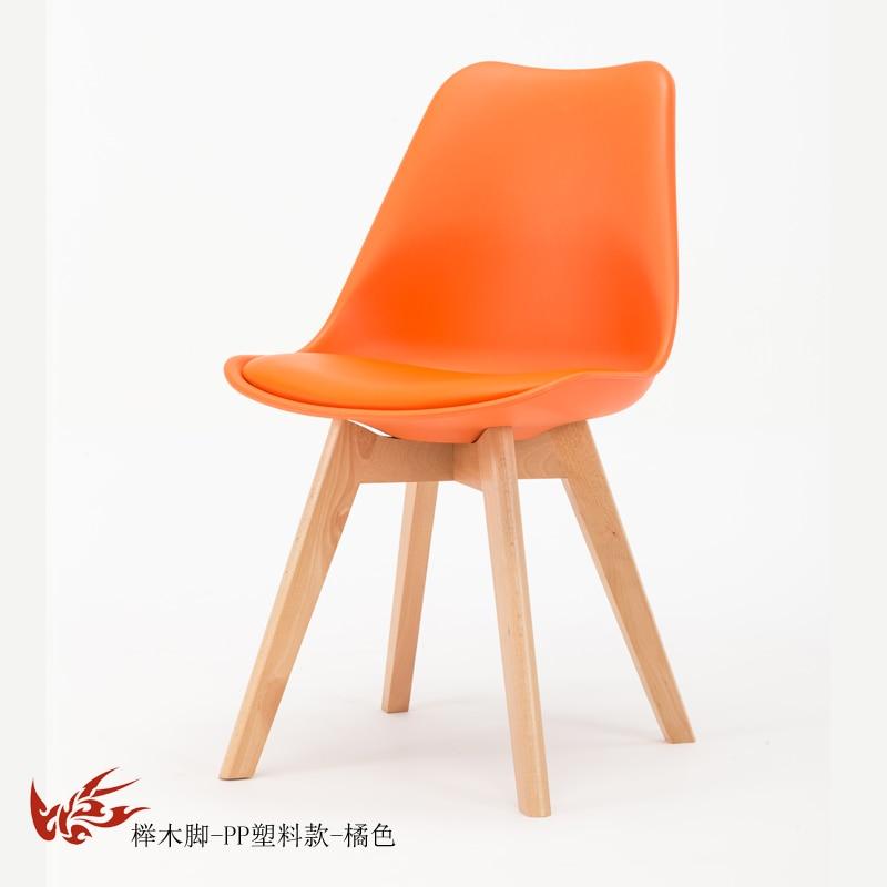 Простой стул Мода нордическая ткань; Массивная древесина обеденный стул кофе отель встречи, чтобы обсудить домашний табурет - Цвет: 11