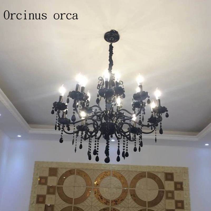 Black Crystal Chandelier European style living room lamp retro Candle Chandelier dining room Postage free|black crystal chandelier|candle chandelier|crystal black chandelier - title=