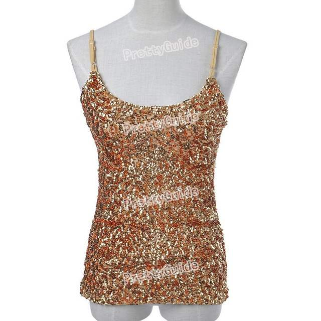 d00c610236b PrettyGuide Women Flashy Sequins All Over Front Sparkle Spaghetti Strap  Cami Tank Top Clubwear Top 11