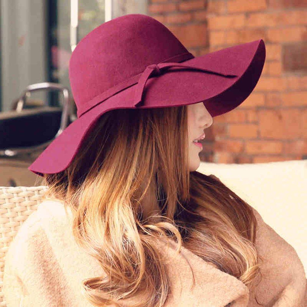 Lã Aba Larga Feltro Bowler Hat Versão Coreana do vintage Cor Sólida Onda  Ondulação Cap Arco 7a6e57d2941
