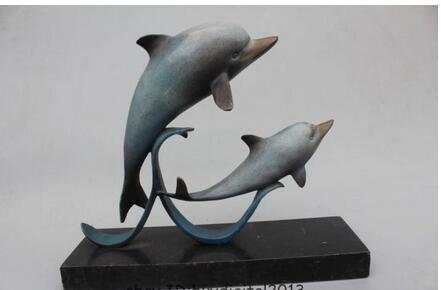 12 Chinese Royal Bronze Copper Marble Two Lucky Dolphin Porpoise Statue tools wedding decoration bronze factory outlets