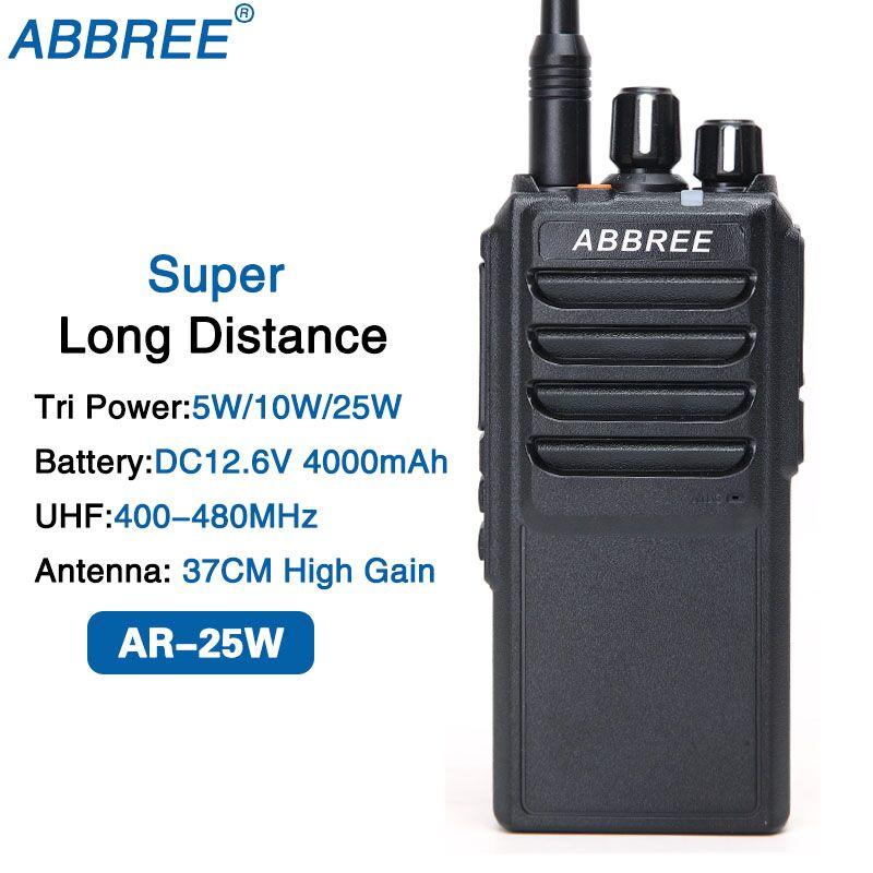 ABBREE AR-25W UHF 400-480 mhz Puissance de Sortie 25 w 10 w 5 w 10 km Gamme Talkie Walkie 37 cm Antenne À Gain Élevé et 4000 mah Batterie