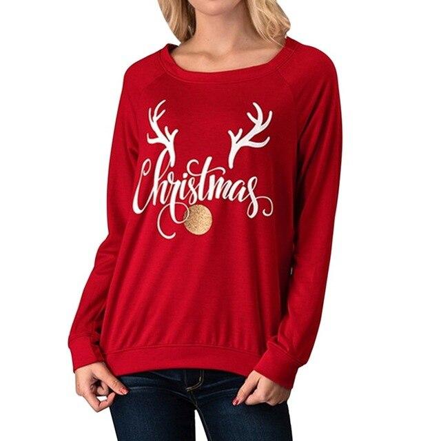 faa5981bcb38 SHUJIN 2018 New Autumn Casual Sweatshirts Women Long Sleeve Deer Letter  Printed Hip Hop O Neck Pullover Christmas Sweatershirt