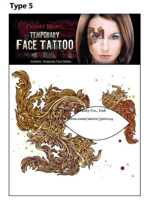 wholesale 12style party/halloween temporary Face & Body Tattoo eye shadow disposable sticker waterproof 100pks/lot free shipping