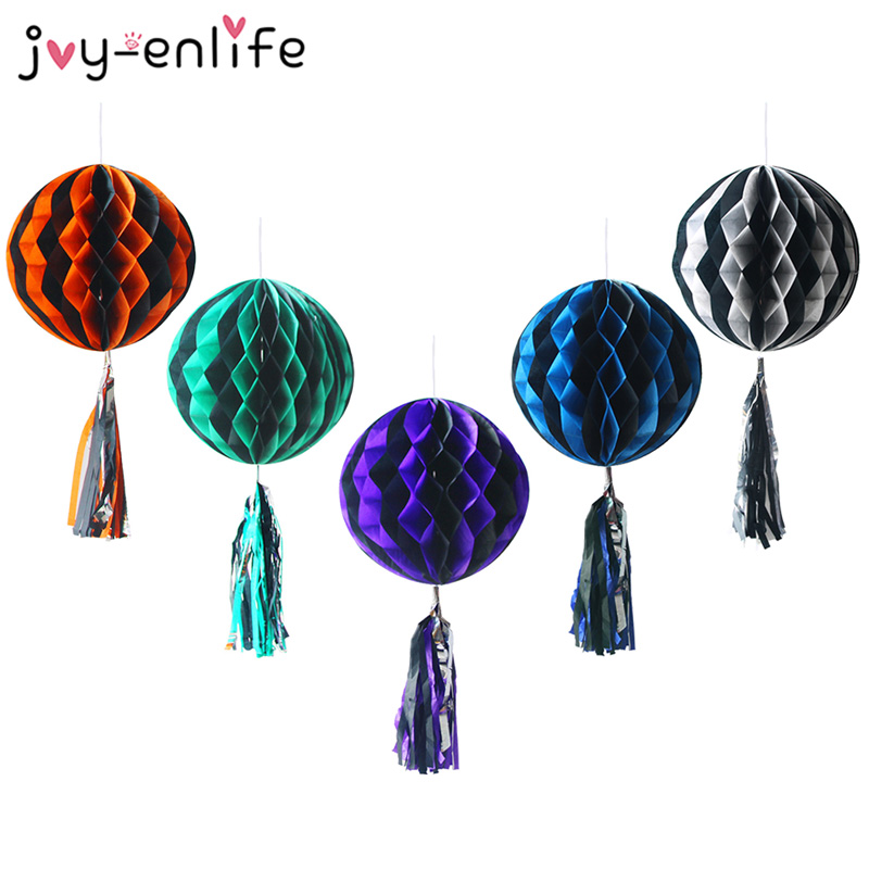 1pcs Halloween Honeycomb Paper Flower Ball Tassel Hanging Halloween Pompoms Lantern Ghost Halloween Decoration For Home in Banners Streamers Confetti from Home Garden