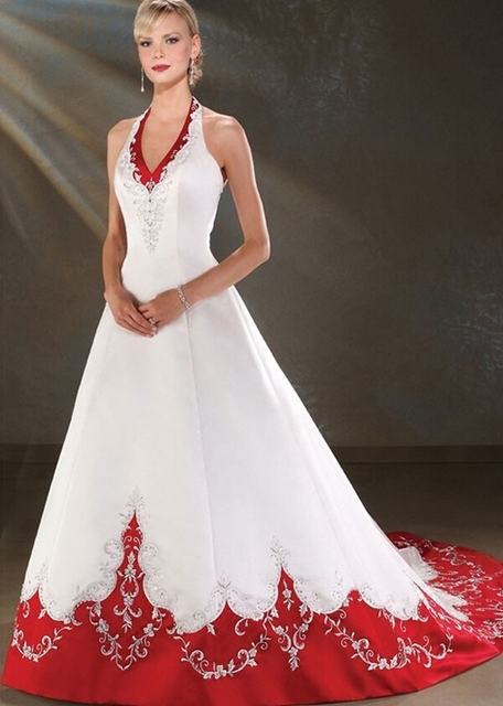 Backless Halter Satin A Line Red And White Wedding Dresses Bridal Bride Gowns