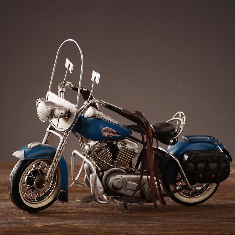 Rétro moto modèle ameublement décoration fait à la main en métal artisanat photographie accessoires de luxe vintage moto ornement