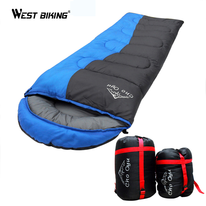 WEST BIKING Spliced Sleeping Bag Thick Warm Winter 1.8kg Limit Minus 8 Degrees Spliced Envelope Hooded Camping Sleeping Bag kingcamp favourer 450mix envelope 32 degree f 0 degree c down spliced micro fiber sleeping bag with hood for camping