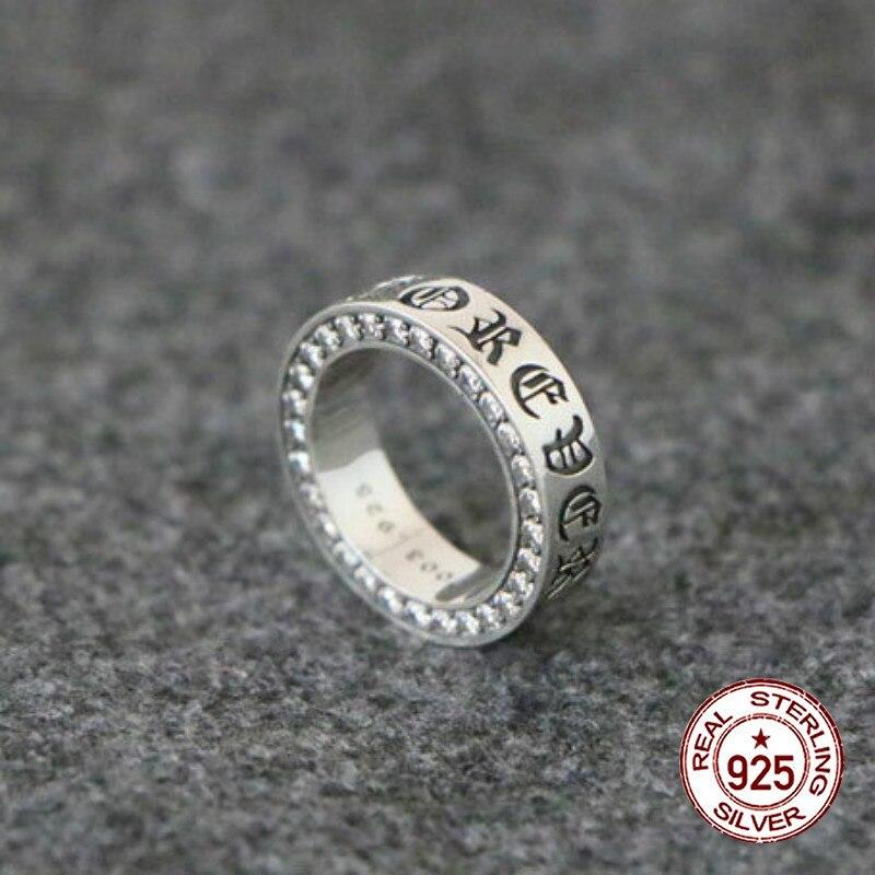 925 bague en argent sterling personnalité mode classique style punk nouvelle vague croix fleur lettre forme incrustée bijoux à envoyer