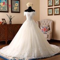 Jark Tozr New Arrive Gorgeous Ivory Bridal Gowns Vestido Novia V Neck Lace Up Appliques Flowers