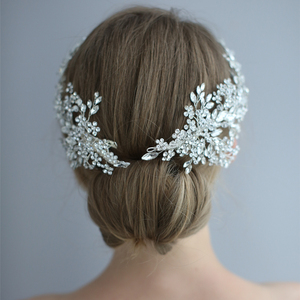 Image 4 - Повязка на голову со стразами, для свадьбы, аксессуары для волос, повязка на голову с цветами, венок из виноградных листьев, роскошный Кристальный ободок