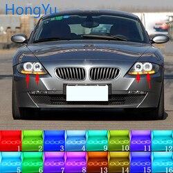 Najnowszy reflektor wielokolorowy RGB LED Angel Eyes efekt aureoli Eye DRL rf pilot zdalnego sterowania dla BMW Z4 E85 E86 2002-2008 akcesoria