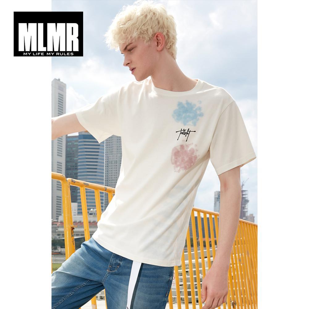 MLMR Men's Round Neckline White Letter Print Short-sleeved T-shirt Streetwear| 219101533