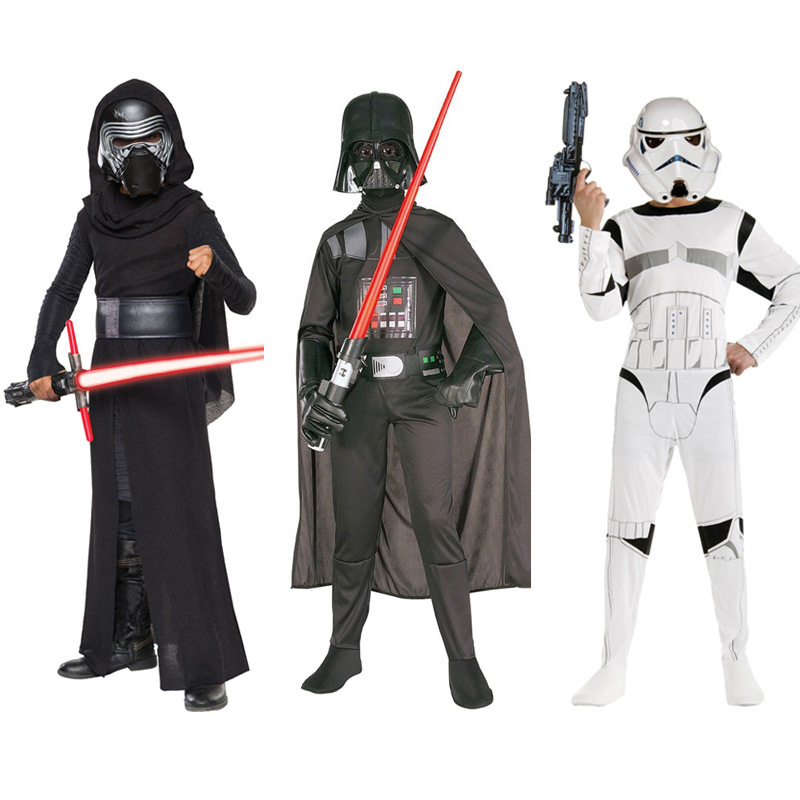Star Wars Cosplay Costume For Boys Storm Troopers Darth Vader Knights of Ren Jumpsuit With Mask Costume For Kids Dress Up