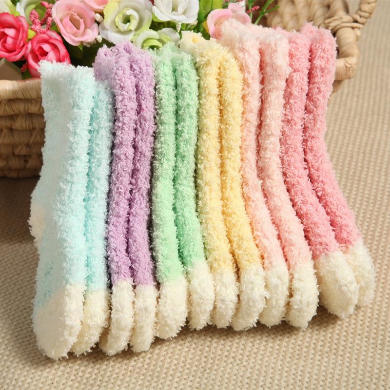 Inverno coral veludo quente crianças meias de alta qualidade doce cor meias para meninas meninos meias 0-3 ano bebê 5 pares/lote