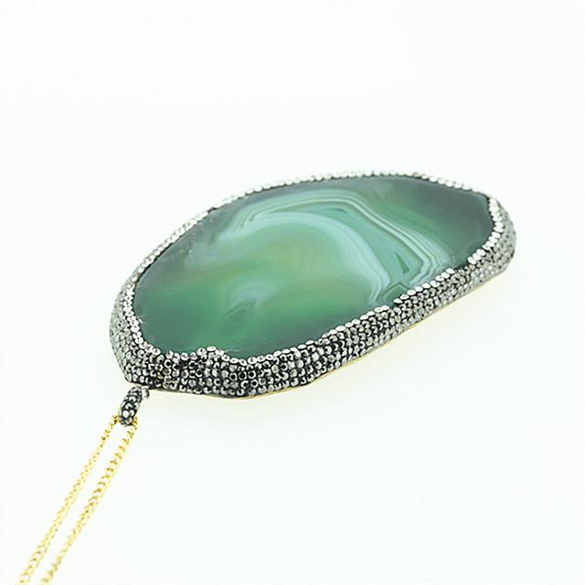 1 PC Verde Ágata Slice Pingente Banhado A Ouro Cadeia Colar Irregular Pedra Natural Colar de Pingente de Cristal Rhinestone Beads Gumes