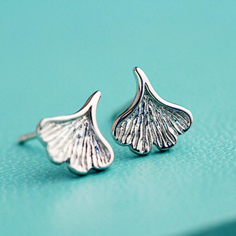 925 Sterling Silver Small Ginkgo Leaves Stud Earrings For Women Lady Gift Temperament Sterling-silver-jewelry VES6089