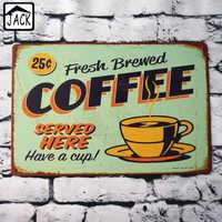 Fresh Brewed Coffee Vintage Poster Metal Tin Sign House Club Bar Decor Pub Restaurant Cafe Plaque Lounge Plate 20*30CM