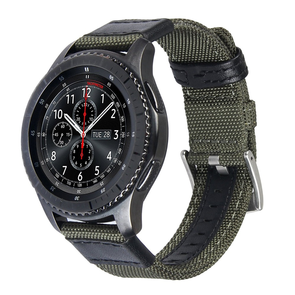 V-MORO 22mm Woven Nylon Watch Strap For Gear S3 Band Replacement Bracelet For Gear S3 Classic Frontier Smart Watch v moro solid stainless steel metal replacement band with adapters for samsung gear s2 smart watch metal silver
