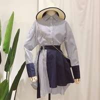2018 Spring New Pattern Full Sleeve Fake Two Pieces Belt Waist Stitching Blouse Ladies Fashion Long