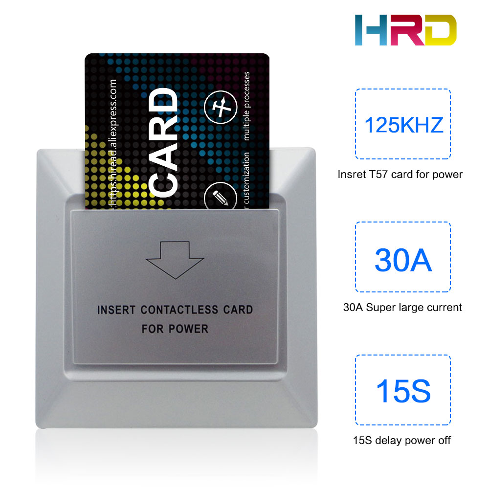 Reliable Hiread 125khz Insert Rfid Wall Energy Saving Hotle Key Switch With T5577 Card 30a 220v Electronic Induction Switch Security & Protection