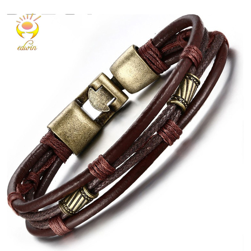 Edwin Men Bracelets Fashion Jewelry 2018 Genuine Leather Bracelet Men Acessories Leather Bronze Metal Bracelet A017 ...