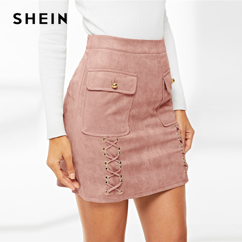 SHEIN Glamorous Pink Lace Up Detail Flap Pocket Suede Skirt Women Summer Elegant Casual High Street Going Out Pencil Skirts