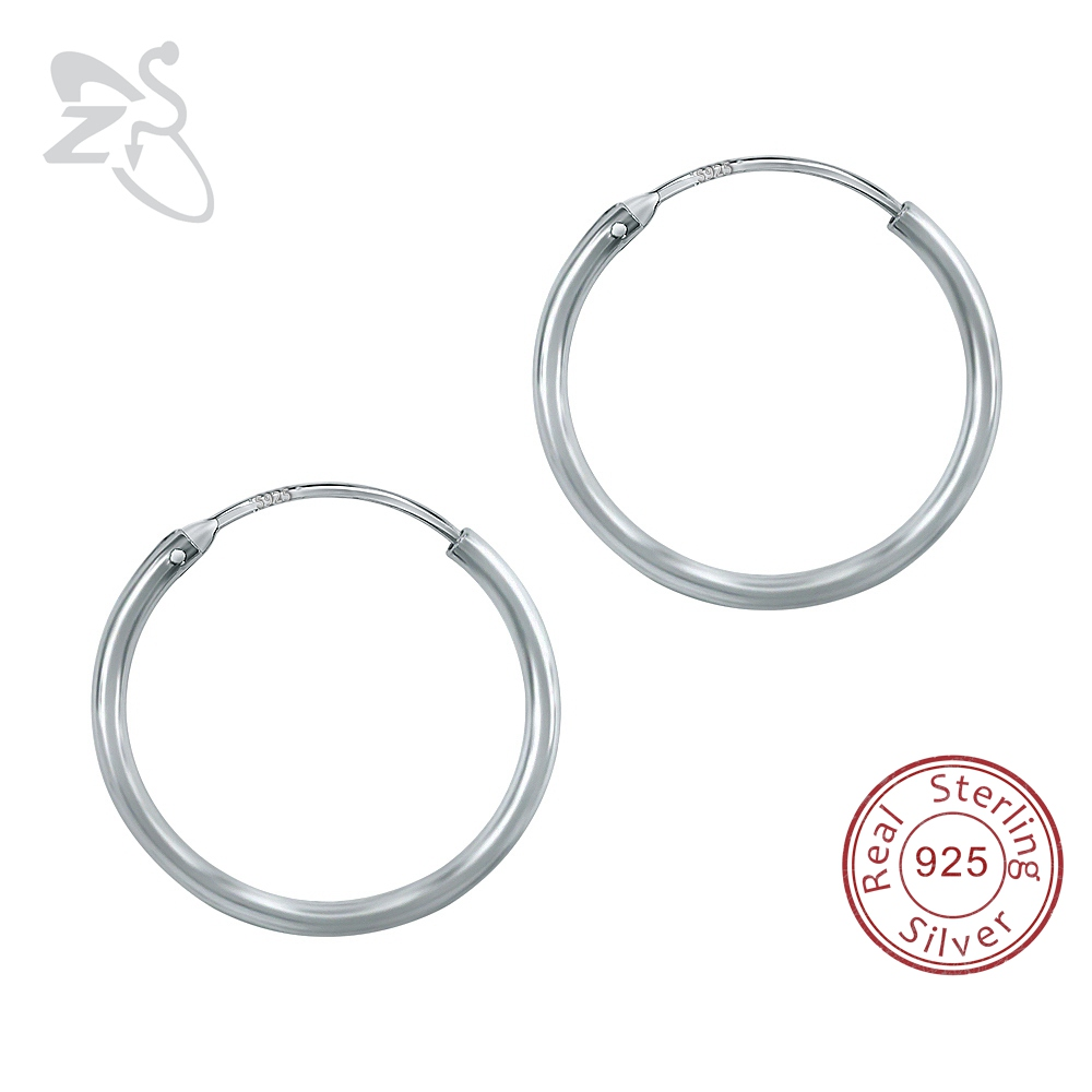 100% 925 Sterling Silver Hoop Earrings Round Circle Hoop Earrings Women men Simple Round Silver Earrings Pendientes Jewelry