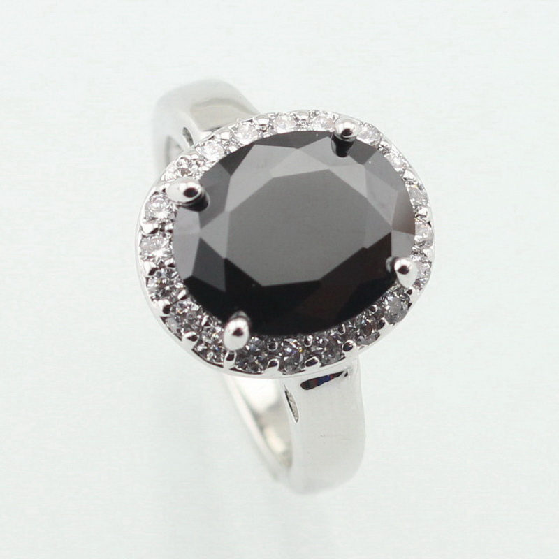 WPAITKYS Oval Black Cubic Zirconia White Stone Silver Color Ring For Women Lovely Crystal Jewelry Size 6 7 8 9 10 Free Gift Box цена 2017
