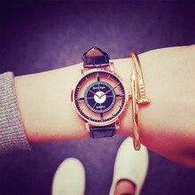Мода 2017 г. Повседневное большой циферблат кожаный Для женщин Часы пару часов прозрачные полые простой кварцевые наручные часы Relogio feminino