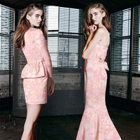 CF328 The New Spring Fashion Purl Pink Jacquard Fabric For Women Suit Trouser Coat Formal Dress