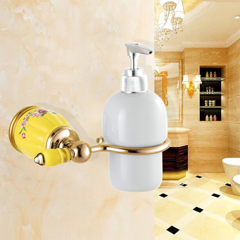 Wall Mounted Liquid Soap Dispensers Golden Brushed Shower /Shampoo / Lotion Conditioner Dispenser Pump,bathroom accessories uythner square brushed nickel soap dispenser liquid shampoo soap bottle bathroom accessories wall mounted 1000ml
