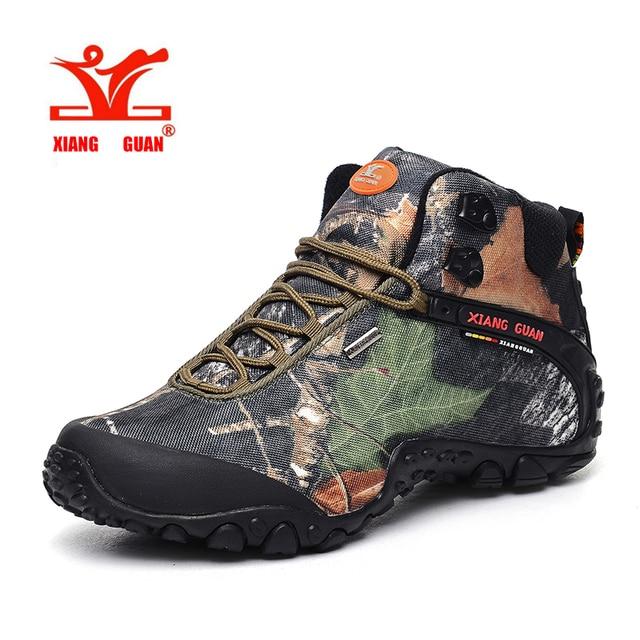 XiangGuan brand men and women outdoor Hiking shoes waterproof canvas sport  trekking boots Anti-skid
