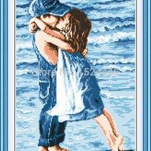 Влюбленные на море, Счетный напечатан на холсте 11CT Вышивка крестом Набор для вышивания, набор для рукоделия, детство девочка и мальчик поцелуй