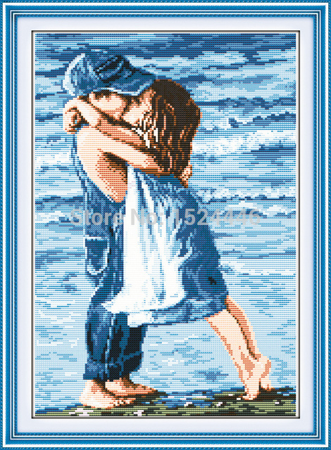 Любители на море, Счетный напечатаны на холсте 11CT вышивка крестиком комплект, набор для рукоделия, детство девочка и мальчик поцелуй