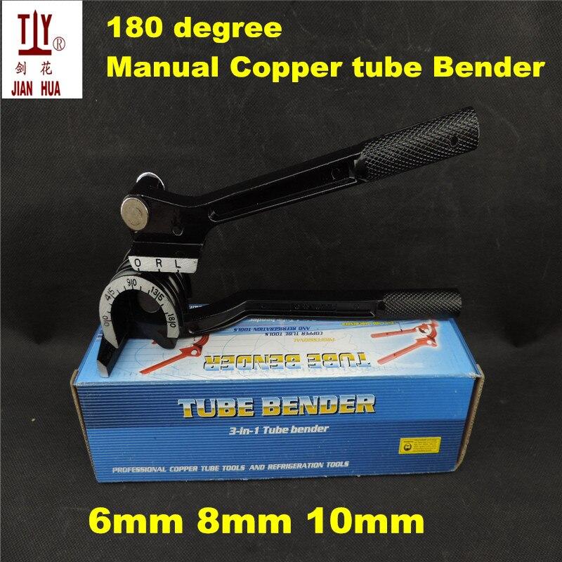 Livraison gratuite 6mm 8mm 10mm 180 degrés Manuel Cuivre tube Bende air conditionné en laiton aluminium pipe bender outils de pliage