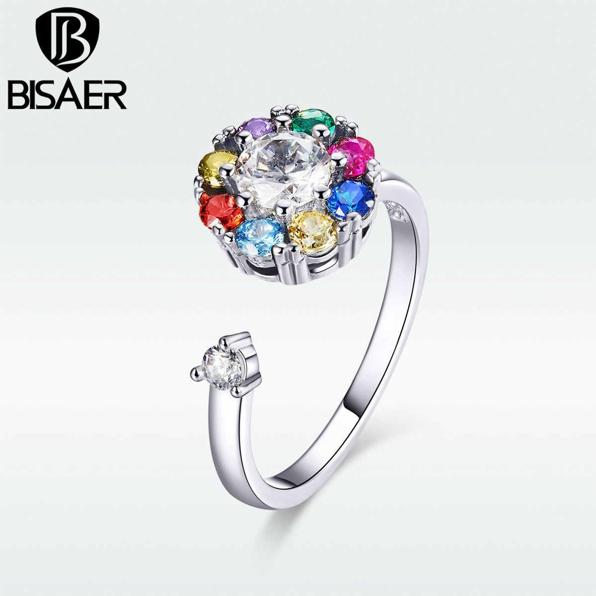 BISAER Flower แหวนเงินสี Rainbow Whirling ดอกไม้ปรับนิ้วมือแหวน Cubic Zircon เครื่องประดับ WEYR218