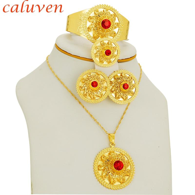 Rdeča bela, zelena črna barva kamen Etiopljan / Eritreja / Habesha Chokers zlata barvna nakitna garnitura za uhane / ogrlice za ženske darilo