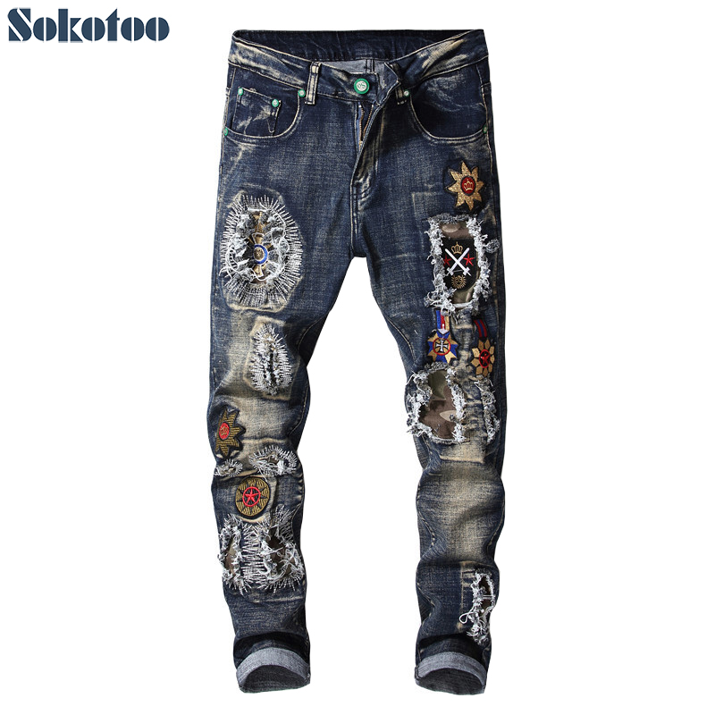Sokotoo Men's fashion badge patches embroidery ripped   jeans   Holes patchwork blue stretch denim pants