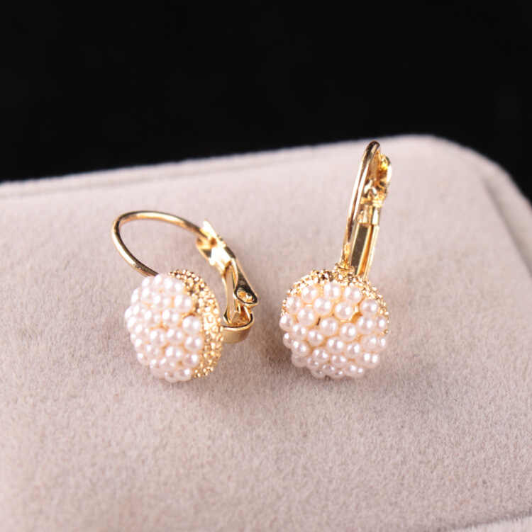 Lady eleganckie symulacja Pearl koraliki Ear Stud kolczyki 1 para nowa moda biżuteria kobiety