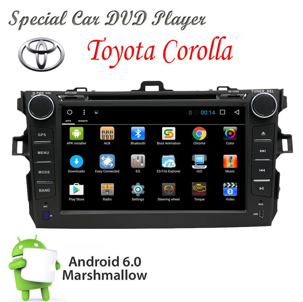 In Dash Car DVD GPS Navigation Wifi Radio Android 6.0 For Toyota Corolla 07-13