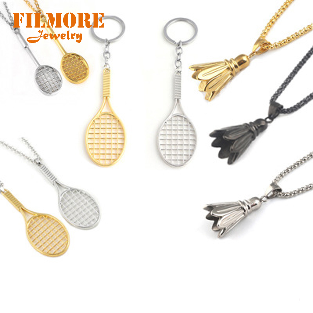 2018 Hot Fashion Jewelry Fitness & Bodybuildin Badminton Tennis Racket Necklaces High Quality Badminton Women and Men Necklace