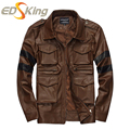 New 2016 Men Leather Jacket Turn-down Casual Fashion Dark Brown Mens Leather Jackets And Coats Factory Connection Clothing