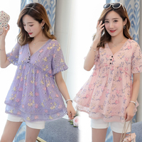 8111# Sweet Floral Chiffon Maternity Shirts Summer Korean Fashion Loose Tops Clothes for Pregnant Women Elegant Pregnancy Tunic